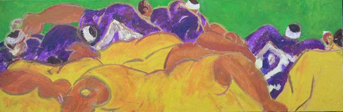 Rugby : Peintures et dessins de Marine Assoumov